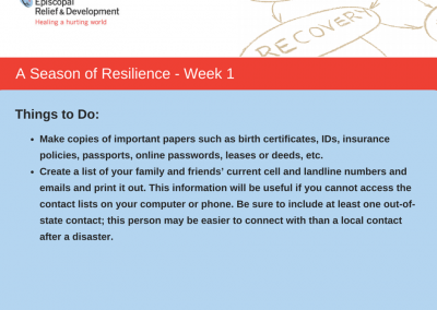 A Season of Resilience- Week 1 Things to Do