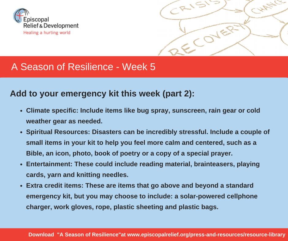 A Season of Resilience- Week 5b Emergency Kit
