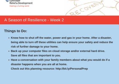 A Season of Resilience- Week 2 Things to Do